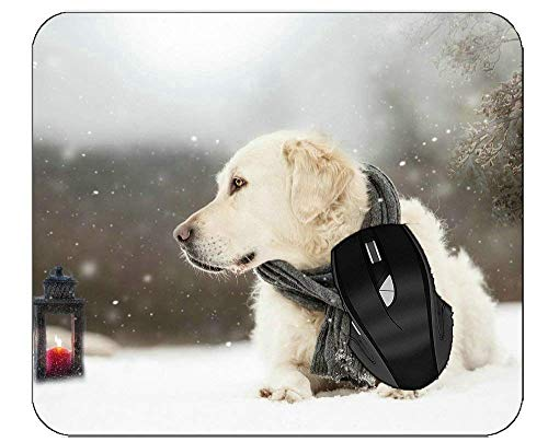 Mousepads Haustier Schnee Winter Laterne Hund Golden Retriever Mauspads für Computer