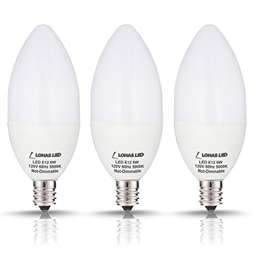 LOHAS Candelabra LED Bulb Daylight, 60W Candelabra LED E12 Base 5000K(6W), Ceiling Fan Light Bulb Candle Shape, B10 Light Bulbs for Chandelier Lighting, Not Dimmable 120V, 550 Lumens(Pack of 3)