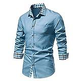 XUEbing Camisas de vestir impresas para hombre casual slim fit manga larga botón abajo camisa cuello solapa ligero Tops blusa, azul claro, XL