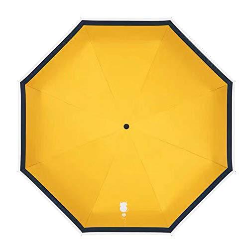SoreSore(ソレソレ) 日傘 猫 ネコ 白猫 uvカット 遮光 折りたたみ 晴雨兼用 レディース 手動 手開き式 折りたたみ傘 軽量 イエロー 黄色 可愛い かわいい 雨傘 丈夫 8本骨 プレゼント 収納ポーチ付き
