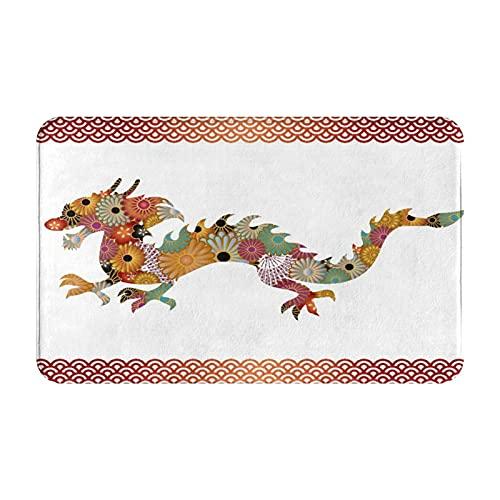 MJIAX Alfombras de baño, alfombras de baño,Silueta de Cuerpo de dragón Ornamental Floral con patró, Alfombras de Felpa Alfombras Felpudo Suave y Duradero Alfombras decoración Antideslizante