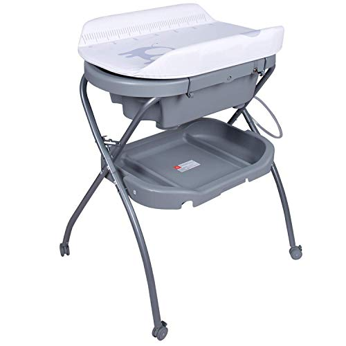 Baby Bathinette Folding Changing Table Baby Diaper Station with Bath Tub Unit