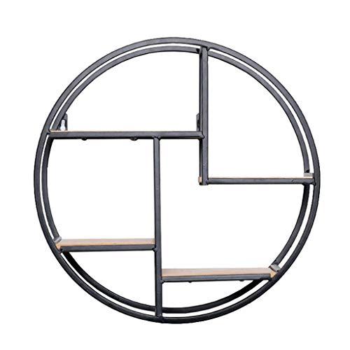 Y56(TM) Rundes Wandregal aus Holz und schwarzem Metall, Gewürzregal im Industrie Design, Küchenregal mit 4 Böden, Wandregal rund mit 4 Ebenen Schwarz Wandboard Hängeregal Setzkasten
