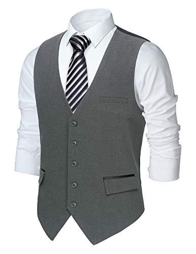 HISDERN Chaleco Formal para Hombre Clásico Elegante Chalecos de Boda Negocios Fiesta Casual Vest con Bolsillo Gris oscuro