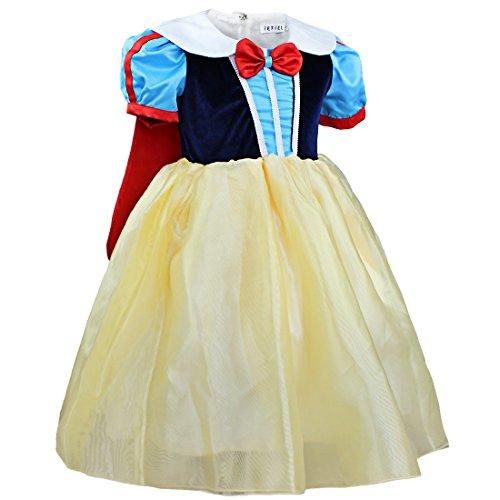 IEFIEL Costume Déguisement Blanche Neige Princesse Robe avec Cape Enfant Filles 2-8 Ans (4-5 Ans, Jaune/Bleu)