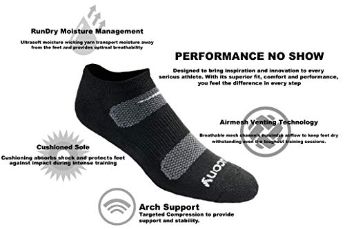 Saucony Men's 6 Pack Performance Comfort Fit No-Show Socks, Black Basic, Size: 9.5-11.5