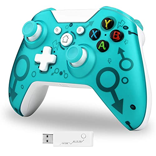 Wireless Controller, Wireless PC Gamepad mit 2,4 GHz Wireless-Adapter, kompatibel mit Xbox One / One S / One X / P3-Host / Windows 7/8/10 (Blau)
