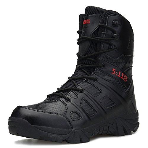 MERRYHE Botas Militares De Cordones con Cordones Botas Tácticas Especiales De Seguridad para Hombres Botas Tácticas De Policía para Escalar Zapatos De Escalada,Black-43