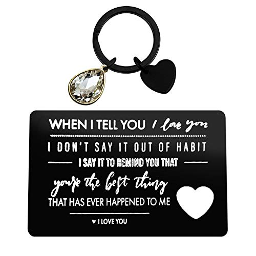 Engraved Wallet Card Inserts Anniversary Card Gifts Keychain Set Valentine's Day Jewelry for Boyfriend Husband Men Christmas Gifts Couple Gift Wedding Deployment Gifts Cards Birthday Gifts