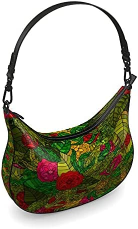 The Fashion Access Hand Drawn Floral Seamless Pattern Curve Hobo Bag