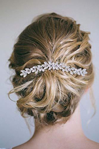 Simsly - Fermaglio a pettine, accessorio per capelli, da sposa, con cristalli, per donne e ragazze, colore: argento