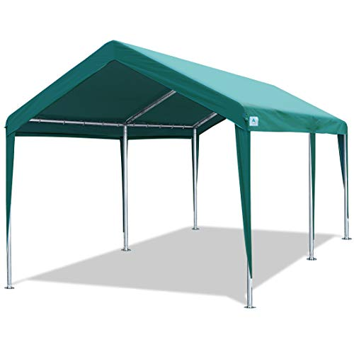 10 x 20 FT Heavy Duty Carport Car Canopy Garage Boat Shelter Party Tent, Adjustable Height from 6.5ft to 8.0ft, Green