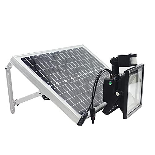 Foco Solar Exterior Impermeable,Panel Solar 6000K 18V30W Luces Solares Jardin Decoracion,8 Modos, Multifunción Farolas Solares Exterior Pie,Batería De 12,6 V 10000 MAH Lamparas...