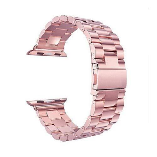 Hspcam Correa de acero inoxidable para Apple Watch Band 44mm 40mm iwatch band 42mm 38mm metal pulsera Apple Watch 5/4/3/2/1 44mm +caja+herramienta (40mm, oro rosa)