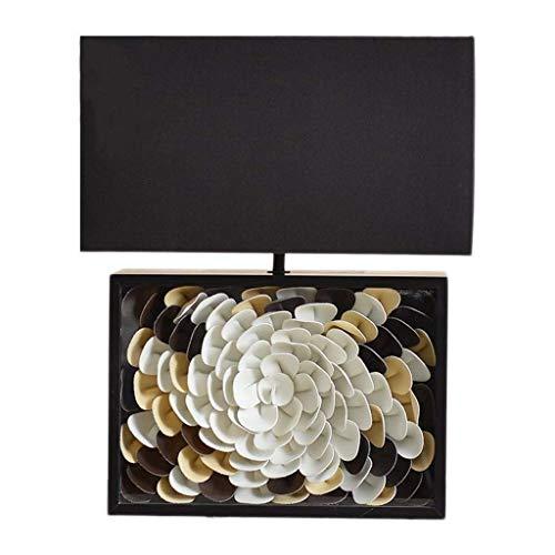 Lámpara de Mesita de Noche Lámpara de lectura en forma de flor de noche Zen contador de la lámpara moderna Visual Art dormitorio cabecera de piel de la lámpara poste de la lámpara de la tela rectangul