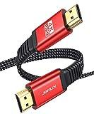 Câble HDMI 3m [4K @ 60Hz, HDMI 2.0, 18Gbps] JSAUX Câble HDMI 4K Câble HDMI 2.0 Cordon Plat en Nylon tressé Haut débit Support 4K@60Hz 3D HDR UHD 2160p Full HD 1080P Ethernet Arc PS3/4 TV PC-Rouge