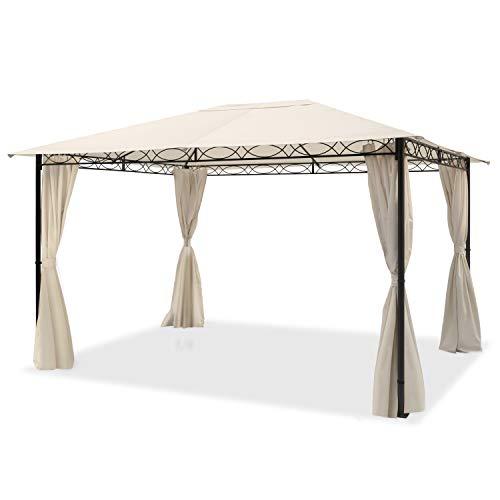 TOOLPORT Cenador de jardín 3x4 m cenador Impermeable con 4 Piezas Laterales Carpa de jardín 180g/m² Lona de Techo en Carpa de Fiesta Beige