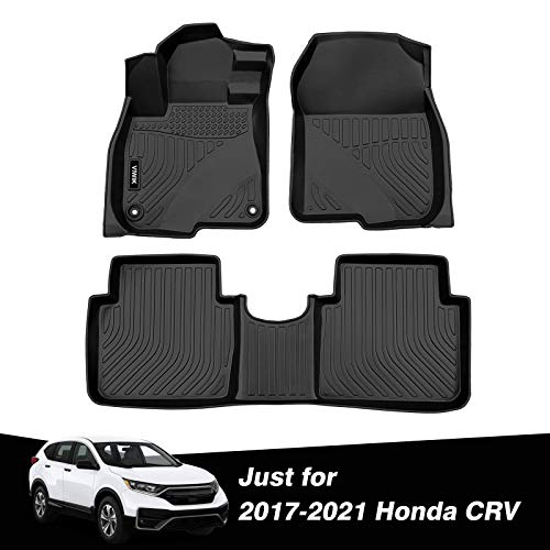 VIWIK Floor Mats for 2017-2021 Honda CRV All Weather Protection Custom Full Set Liners 1st and 2nd Row Front & Rear Black Car Mats
