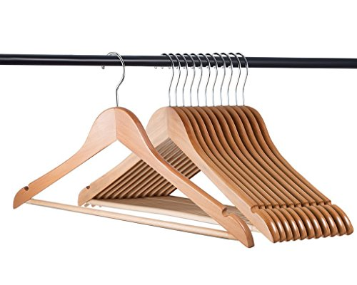 Home-it (20 Pack Natural Wood Solid Wood Clothes Hangers, Coat Hanger Wooden Hangers