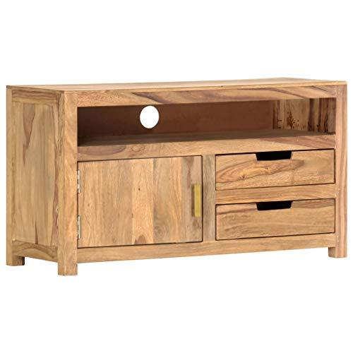 vidaXL Sheesham-Holz Massiv TV Schrank Fernsehschrank Lowboard Sideboard Fernsehtisch TV Möbel Board HiFi-Schrank Palisander 90x35x50cm