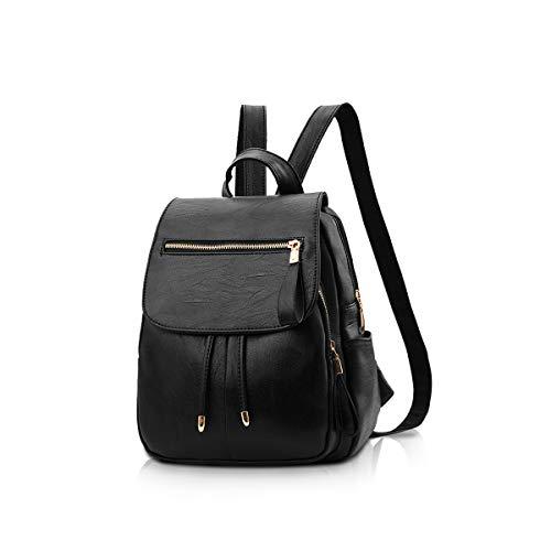 NICOLE&DORIS Fashion Women Backpack Mini Backpack Faux Leather Ladies Rucksack Shoulder Bag Purses Girls Backpack Black