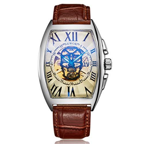 Gnaixyc Reloj De Pulsera Mecánico Automático, con Dibujo De Calavera, para Hombre, Correa De Piel, Revestimiento De Cristal,D