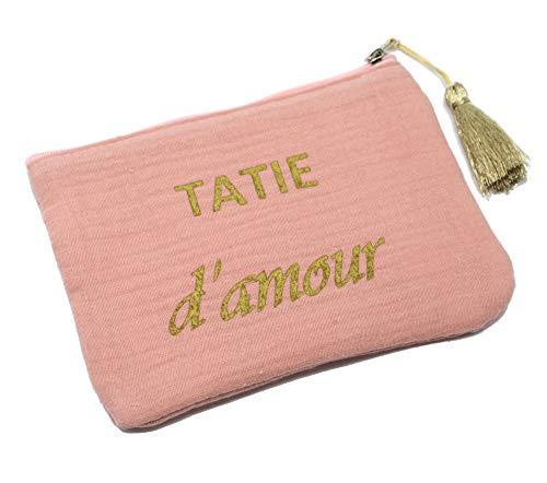 ATM135 - Trousse Pochette Coton Rose Message Tatie d'Amour Pompon Doré