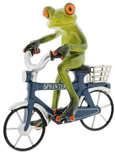 The Bridge Collection Frog Riding a Bicycle Figurine (Boy)