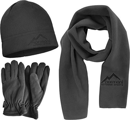 normani Outdoor Sports Winterset Fleecemütze - Handschuhe - Schal - Thinsulate Füllung und kuscheligem warmen Fleece [S-3XL] Farbe Grau Größe XL