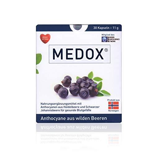 MEDOX® – Veganes Nahrungsergänzungsmittel aus wilden Heidelbeeren & schwarzen Johannisbeeren – 80 mg ANTHOCYANE pro Kapsel – zur Unterstützung gesunder Blutgefäße