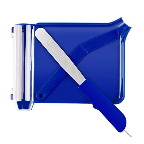 Right Hand Pill Counting Tray with Spatula (Blue - Stainless Steel Spatula and L Shape)