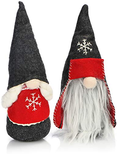 com-four® 2X par Premium de Elfos navideños Talla M para decoración navideña, Figuras del Polo Norte como decoración de Invierno, Lindo Taburete de Esquina como decoración (Gris Pizarra Polar 25cm)