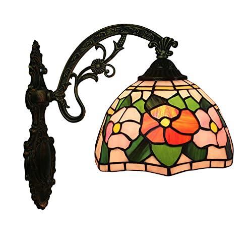DROMEZ Tiffany Wandlampe Schlafzimmer, Farbenfrohe Glas Wandleuchte, Floralen Retro Klein Lampen, Metall Basis, E27 Wandbeleuchtung Innen für Wohnzimmer Esszimmer Korridor