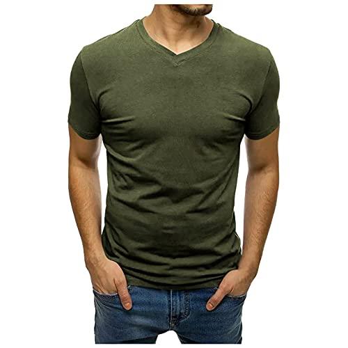 Tshirt Herren Kurzarm V-Ausschnitt Lässige Fitness Sport T Shirts Männer Sportshirt Sweatshirt Hemd T Shirt Kurzarmshirt Top