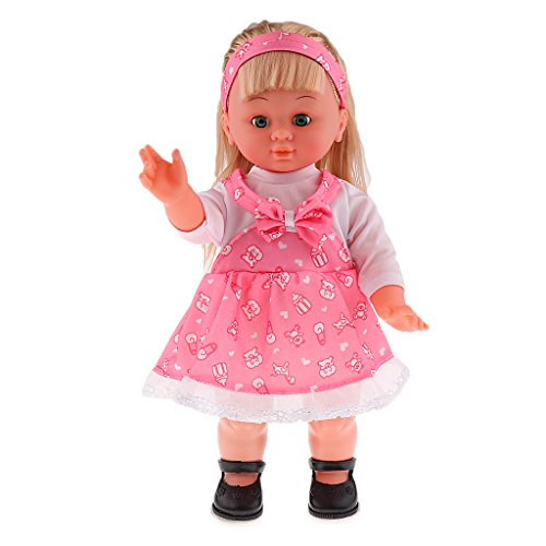 Tongina 41cm Realistic Vinyl Baby Girl Doll with Singing and Walking Function, Moveable Legs and Arms, Blinking Eyes, for Girls Kids Play Toys