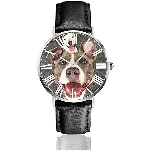 Carino Suger Pitbull Dog Watch Orologi da polso casual con cinturino in pelle nera