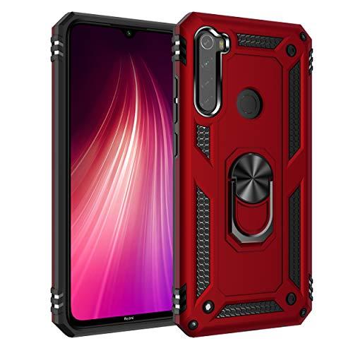 JMstore Funda Compatible con Xiaomi Redmi Note 8 Anillo Soporte[Funciona con El Montaje Coche Magnético]+Protectores Pantalla(Rojo)