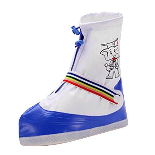 Schuhüberzieher Wasserdicht Kinder Niedlich Schuhüberzieher Wasserdicht Anti-Rutsch Outdoor Regenüberschuhe für Mädchen Jungen Blau/S