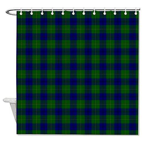 Duschvorhang aus Stoff, grün-blau, kariert, Duschvorhang für Badezimmer, wasserdicht, mit 12 Haken, maschinenwaschbar, 183 x 180 cm