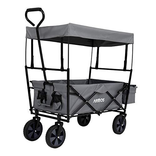 Arebos Bollerwagen faltbar mit Dach Handwagen Transportkarre Gerätewagen | inkl. 2 Netztaschen und...