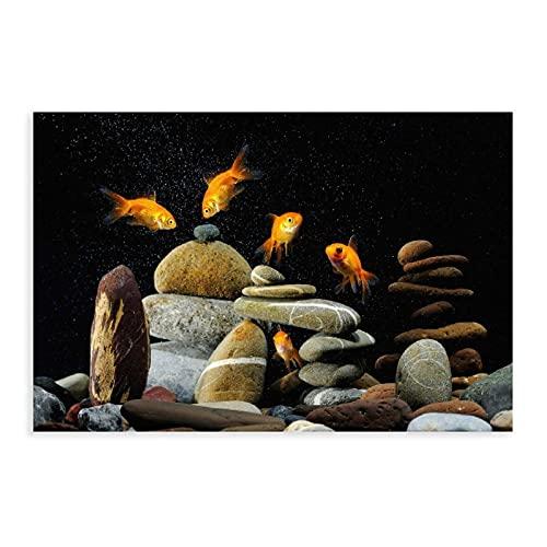 Fisch, Aquarium, Felsen, schwarzer Hintergrund, Leinwand-Poster, Wandkunst, Dekordruck, Gemälde für Wohnzimmer, Schlafzimmer, Dekoration, ungerahmt: 50 x 75 cm