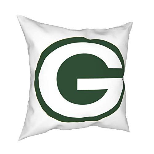fingww Funda De Almohada Green Bay Football Packer Funda De Cojín con Cremallera Funda De Almohada Throw Pillow Cover Sofá Funda De Almohada Decorativa Square 45X45Cm Silla para El Hogar
