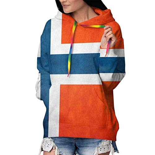 ZharkLI Pullover Hoodie Kapuzen-Sweatshirt für Frauen Mädchen Damen, Winter Tops Gr. M, Vintage Norwegen Norwegen Flagge