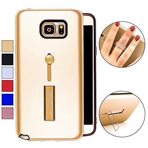 COOVY® Cover für Samsung Galaxy Note 5 SM-N920 / SM-920F Bumper Case, Doppelschicht aus Plastik + TPU-Silikon mit Halteschlaufe, Standfunktion | Farbe Gold