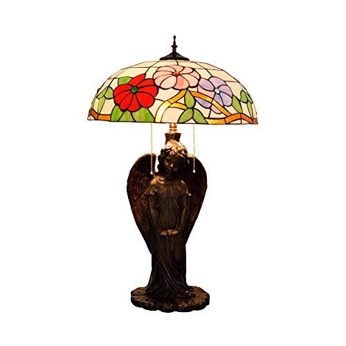 GYW-YW Lámpara de mesa de noche Gloria de la mañana del arte del ángel del vitral de la lámpara de escritorio for la vida de la lámpara de cabecera de la vendimia habitación interior Lámparas de mesa