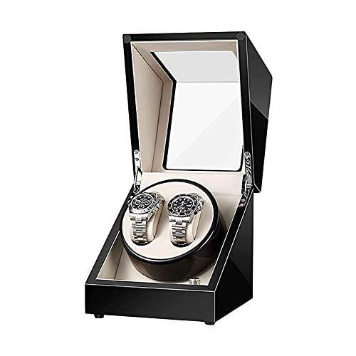 H-BEI Enrollador de Reloj Doble para Relojes automáticos Caja de Madera Maciza Brillante con Motor silencioso y Almohadas Modernas Flexibles para Relojes para Hombres y Mujeres