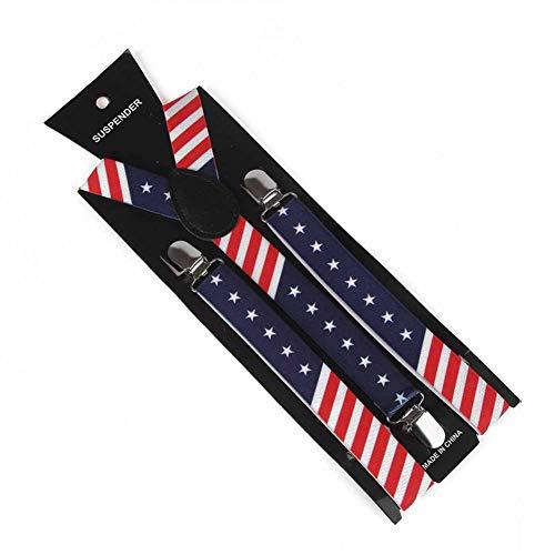 YMXBSBD Hosenträger Mode Unisex Navy Red Star Amerikanische Flagge Bowties Und Hosenträger Sets Für Mens Womens