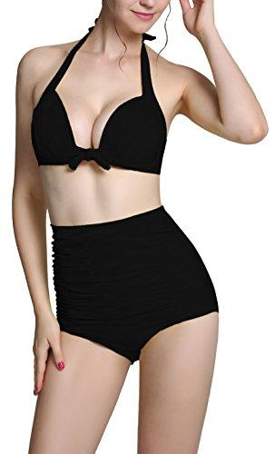 Zando donne Retro 50s Vintage Bikini Halter a vita alta costume da bagno Set Black XXXXL