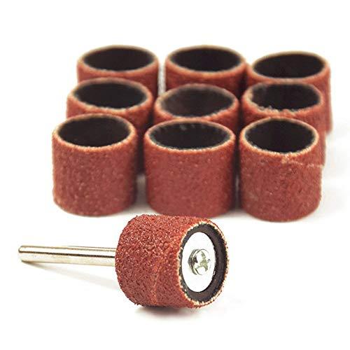 10 piezas para accesorios Dremel Grit 80# bandas de lijado + 3,17 mm lijadora tambor mandril herramienta rotativa brocas para uñas herramientas eléctricas, A