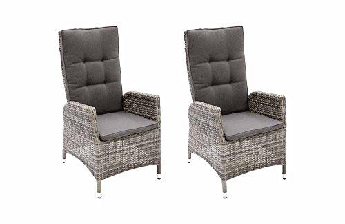 lifestyle4living Verstellbares Gartensessel-Set aus Rattan in Grau, Wetterfester Sessel inklusive Auflagen bringt hohen Sitzkomfort an den Gartentisch